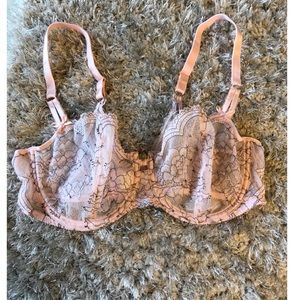 Chantelle Pink and Black Lace Bra Size 38D
